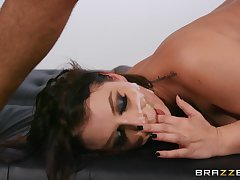 Deep couch copulation leads hot woman on touching share magical facial