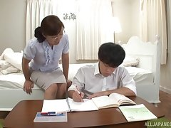 Japanese wife Narita Ayumi enjoys sucking and riding a fat dick