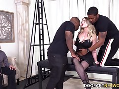 Submissive skimp watches his whore wife sucking twosome big black dicks