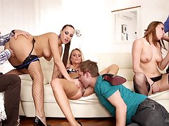 Three Czech swinger couples having crazy group sex near an obstacle living breadth